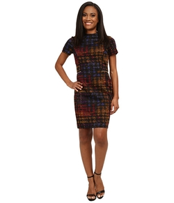 Tahari By ASL  - Petite Houndstooth Printed Ponte Dress