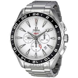 Omega Seamaster  - Aqua Terra White Dial Automatic GMT Stainless Steel Mens Watch