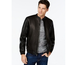 INC International Concepts  - Baldwin Embossed Faux-Leather Bomber Jacket