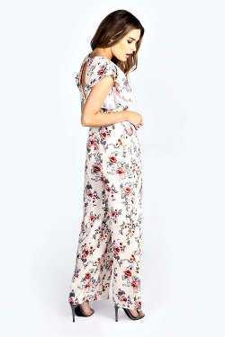 Daisie  - Ruffle Sleeve Floral Vintage Jumpsuit