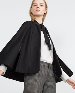 Zara - Short Cape With Faux Leather