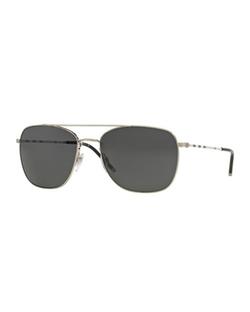 Burberry  - Check-Temple Aviator Sunglasses