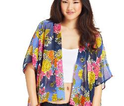 Planet Gold  - Floral-Print Kimono-Sleeve Jacket