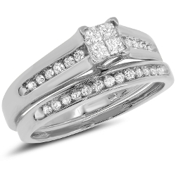 Jewel Tie - Princess Cut Round Diamond Bridal Engagement Ring