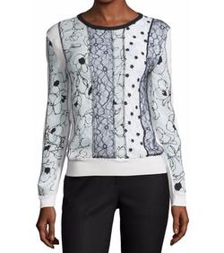 Oscar de la Renta - Mixed-Print Lace-Front Pullover Sweater