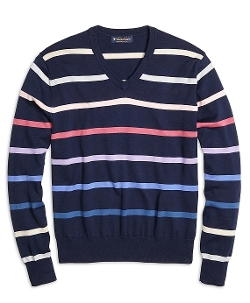 Brooks Brothers - Supima Cotton Stripe V-Neck Sweater