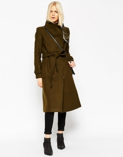 Asos - Coat With Funnel Neck And Belt