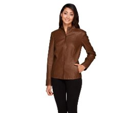 Dennis Basso  - Croc Embossed Faux Leather Zip Front Jacket