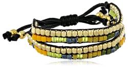 Kenneth Cole New York - Green Multi-Colored Bead 2 Row Adjustable Friendship Bracelet