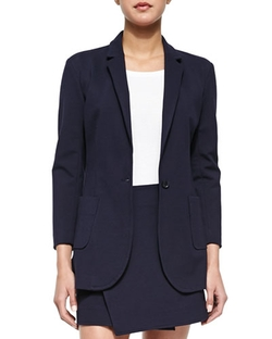 ATM - Single-Button Woven Boyfriend Blazer