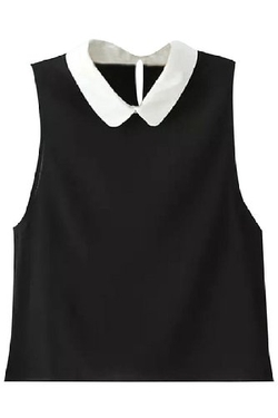 Azbro  - Peter Pan Collar Sleeveless Crop Top