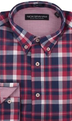 Nick Graham - Red Plaid Herringbone Sport Shirt
