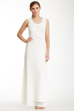 Sharagano  - Belted Crochet Dress