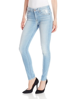 7 For All Mankind - Skinny Jeans with Knee Hole and Bleach
