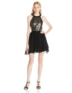 Hailey Logan By Adrianna Papell - Sequin Chiffon Flare Dress
