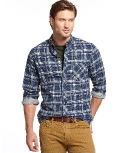 Club Room Shirt -  Slim-Fit Long-Sleeve Brushed Cotton Plaid Shirt
