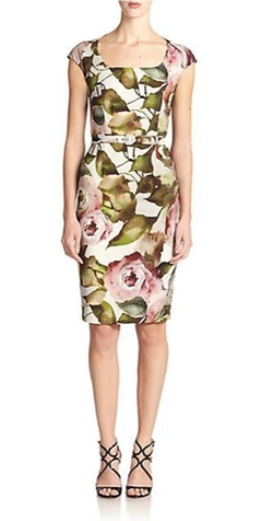Escada  - Winter Rose Belted Cap-Sleeve Dress