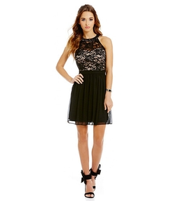 Morgan & Co. - Lace-Bodice Chiffon-Skirted Party Dress