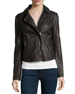 John & Jenn  - Croc-Embossed Faux-Leather Jacket