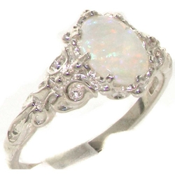 LetsBuySilver  - Sterling Silver Natural Opal Solitaire Ring