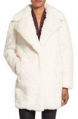 Kensie - Notch Collar Faux Fur Coat