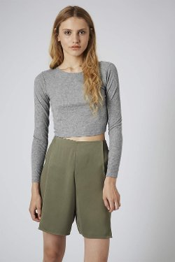 Topshop - Long Sleeve Skinny Rib Crop Top