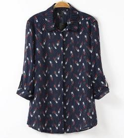 Akee - Lipstick Print Long Sleeve Blouse