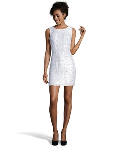A.B.S. by Allen Schwartz - Ivory Sequined Sleeveless Shift Dress