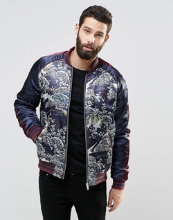Asos  - Bomber Jacket With Oriental Print