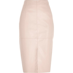 River Island - Leather-Look Split Front Pencil Skirt