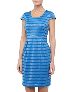 Marc New York by Andrew Marc  - Metallic Striped Cap-Sleeve Dress