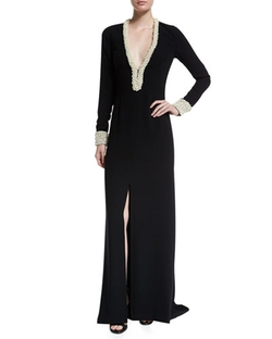 Rachel Zoe - Long-Sleeve V-Neck Column Gown With Pearl Trim
