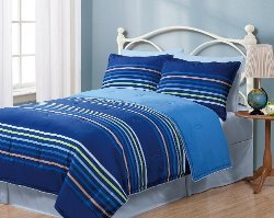 King Linen - Twin Geo Stripes Reversible Comforter Bedding Set