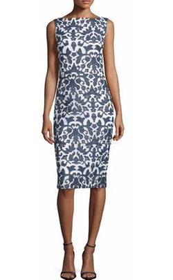 Badgley Mischka - Sleeveless Floral-Print Sheath Dress