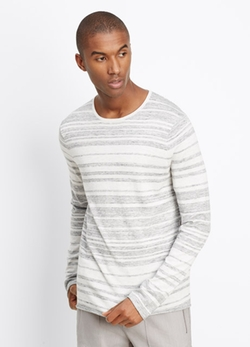 Vince  - Sporty Jaspé Striped Lightweight Sweater