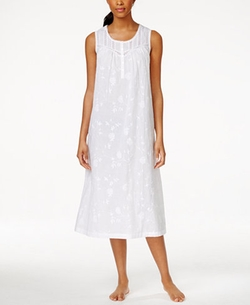 Charter Club - Sleeveless Long Embroidered Nightgown