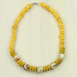 Novica - Agate and Wood Beaded Necklace