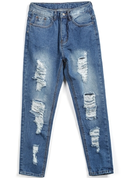 Romwe - Pockets Bleached Ripped Denim Pants