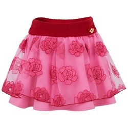 Miss Blumarine  - Pink & Red Rose Print Skirt