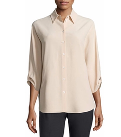 Michael Kors - Collection 3/4-Sleeve Button-Front Blouse