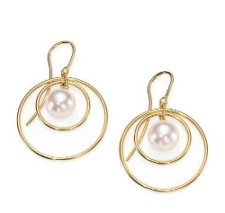 Majorica - Round White Pearl Circle Drop Earrings
