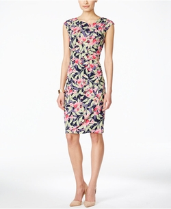 Connected - Cap-Sleeve Floral-Print Gathered Sheath Dress