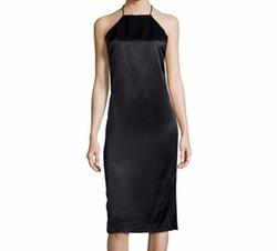 Edun  - Satin T-Back Halter Dress