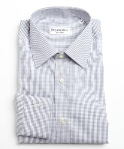 Yves Saint Laurent  - Mini Check Cotton Point Collar Dress Shirt