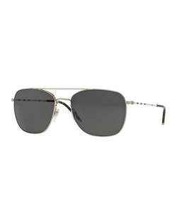 Burberry - Check-Temple Aviator Sunglasses
