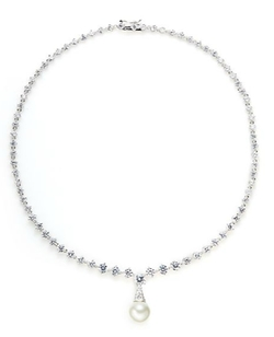 Cz By Kenneth Jay Lane - Faceted Link Pendant Necklace