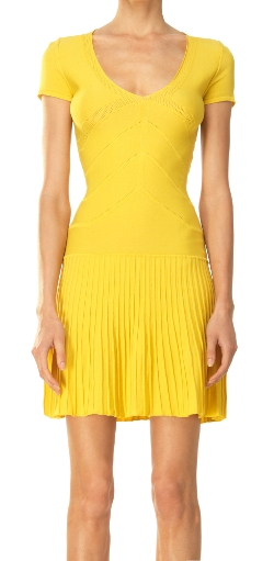 Leon Max - Pointelle Detail Pleated Sweater Dress