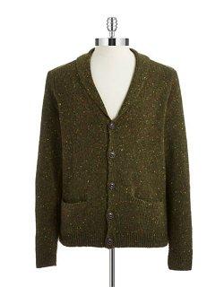 Black Brown  - Wool Marled Cardigan