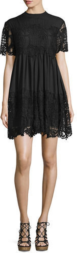 Kendall + Kylie - Short-Sleeve Lace Babydoll Dress