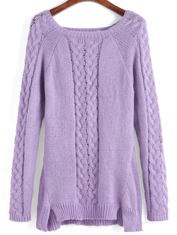 Romwe - Square Neck Cable Knit Slit Sweater